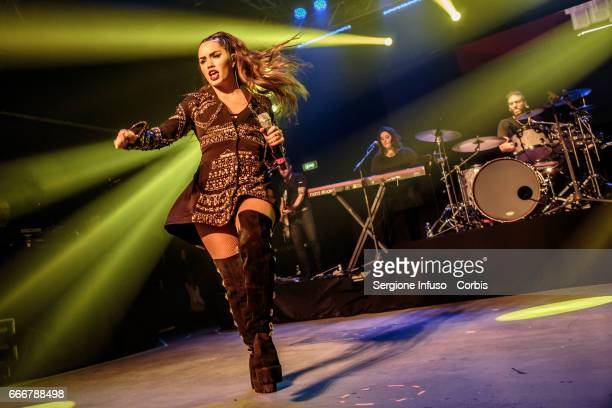 Argentine actress singer dancer model and songwriter Mariana 'Lali' Esposito who records as Lali performs on stage on April 9 2017 in Milan Italy