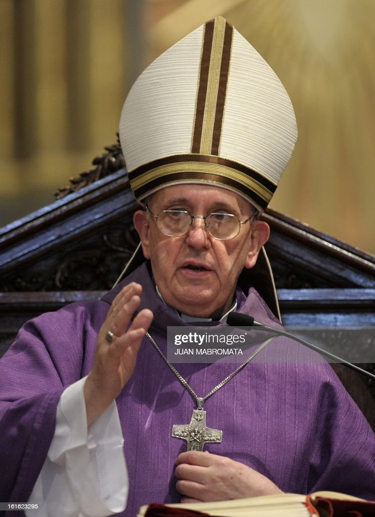 Argentine Archbishop Jorge Bergoglio speaks during a mass for Ash Wednesday opening Lent the fortyday period of abstinence and deprivation for the...