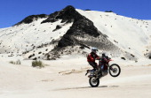 Argentine biker Javier Pizzolito rides his Honda on January 12 2011 on the stage 10 Copiapo Chilecito of the Dakar 2011 Rally AFP PHOTO / Daniel...