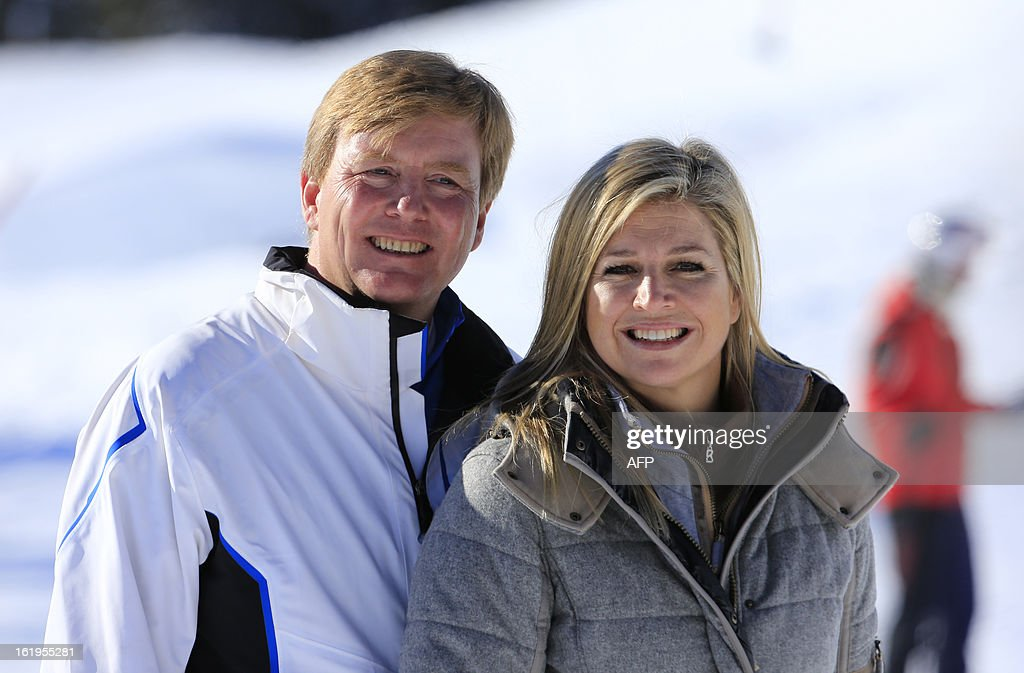 Argentine born Dutch Princess Maxima (R) poses with her husband crown prince Willem-Alexander (L) of the Netherlands during a photocall session as part of the Royal Dutch Family's winter holidays in Lech am Arlberg, western Austria, on February 18, 2013.