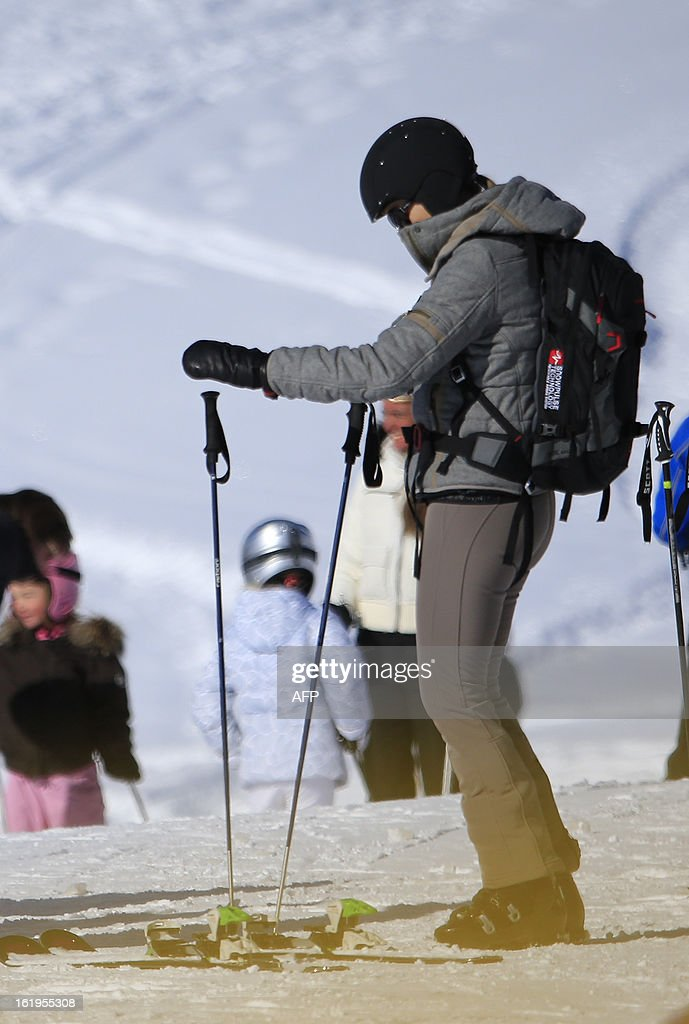 Argentine born Dutch Princess Maxima wears a ski helmet and an avalanche airbag backpack device as she prepares for a ski ride, after a photocall session as part of the Royal Dutch Family's winter holidays in Lech am Arlberg, western Austria, on February 18, 2013.