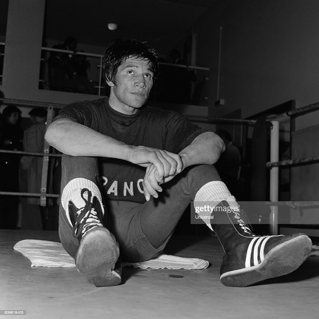 Argentine boxer Carlos Monzon during a training session