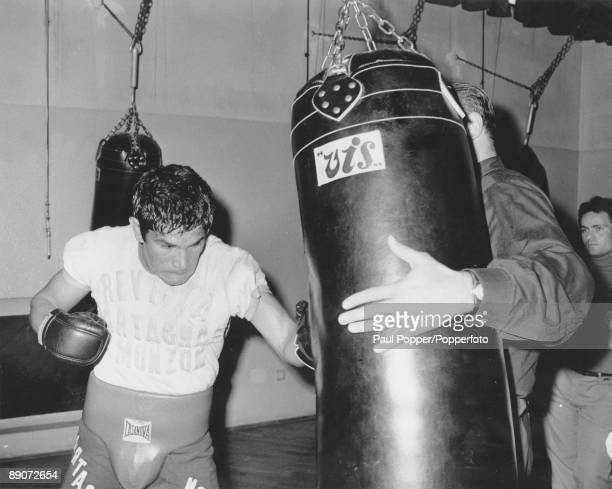 Argentine boxer Carlos Monzon in training before his title fight against World Middleweight champion Nino Benvenuti of Italy Rome 28th October 1970...
