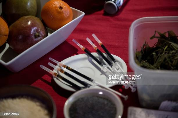 Argentine chef Natalia Revelant teaches people interested in medicinal cuisine different dishes based on cannabis during a cannabis cookery workshop...