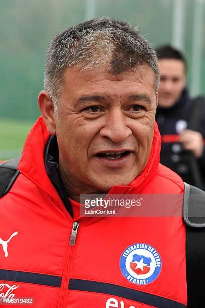 Argentine coach of Chile Claudio Borghi smiles after training session at Spiserwies stadium November 13 2012 in Sait Gallen Switzerland Chile will...