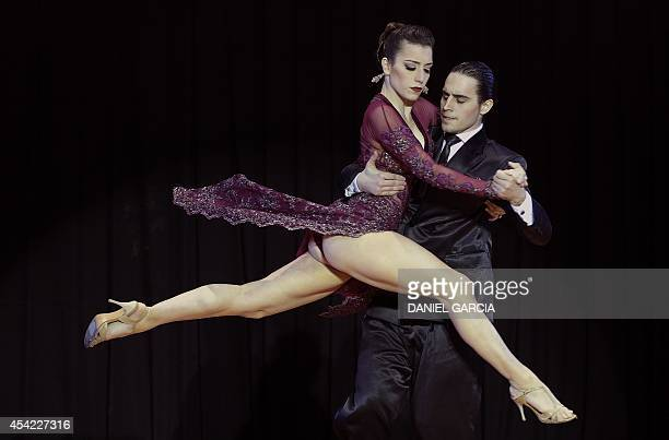Argentine dancers Juan Malizia Gatti and Manuela Rossi perform to win the Stage Tango competition of the Tango World Championship 2014 in Buenos...