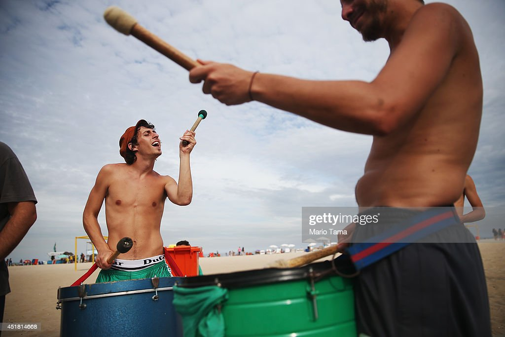 Argentine drummers from the band La Fantastica perform on Copacabana Beach on July 7, 2014 in Rio de Janeiro, Brazil. Brazil plays Germany tomorrow in the first semi-final match of the 2014 FIFA World Cup while Argentina faces the Netherlands Wednesday.