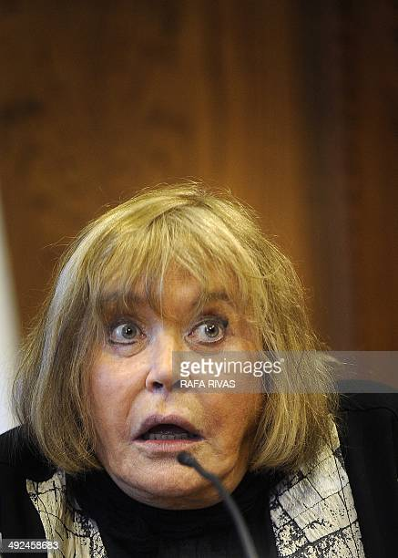 Argentine federal judge Maria Servini de Cubria gives a press conference on May 20 2014 at the Town Hall of the northern Spanish Basque city of San...
