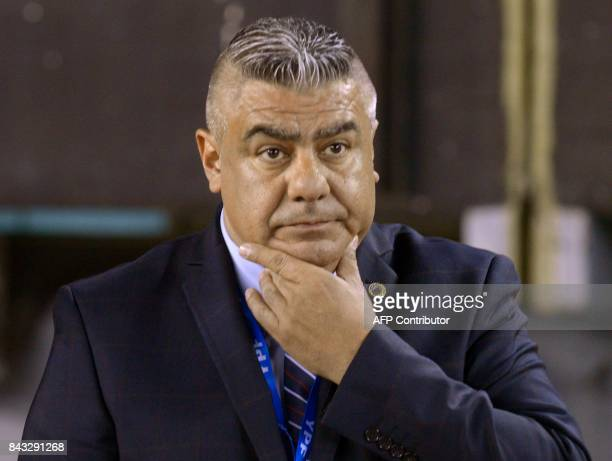 Argentine Football Association president Claudio Tapia gestures before the 2018 FIFA World Cup qualifier football match between Argentina and...