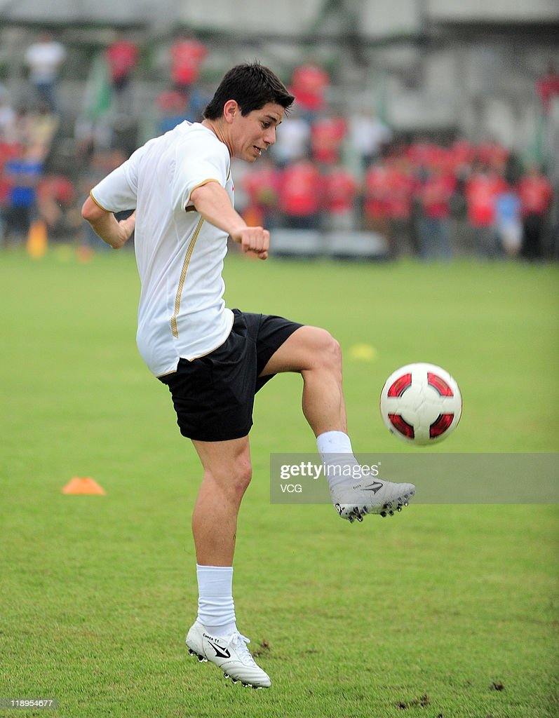 Argentine football midfielder Dario Leonardo Conca attends a training session as he joins Guangzhou Evergrande squad on July 12 2011 in Guangzhou...