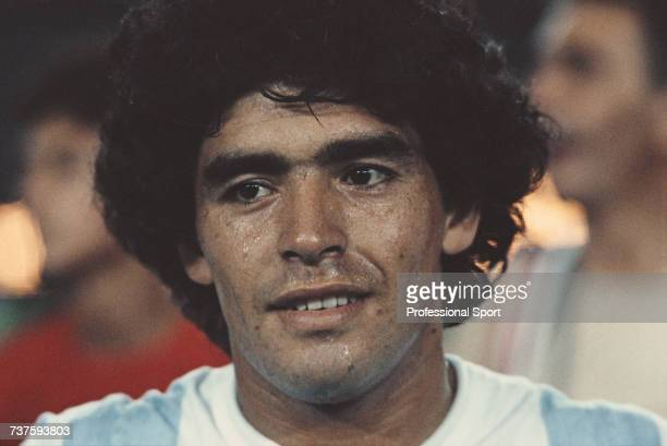 Argentine footballer and member of the Argentina national football team Diego Maradona pictured during an international football match circa 1980