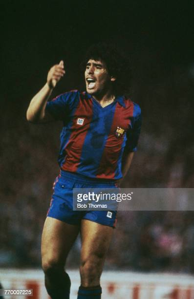 Argentine footballer Diego Maradona in action for FC Barcelona at Camp Nou barcelona circa 1983