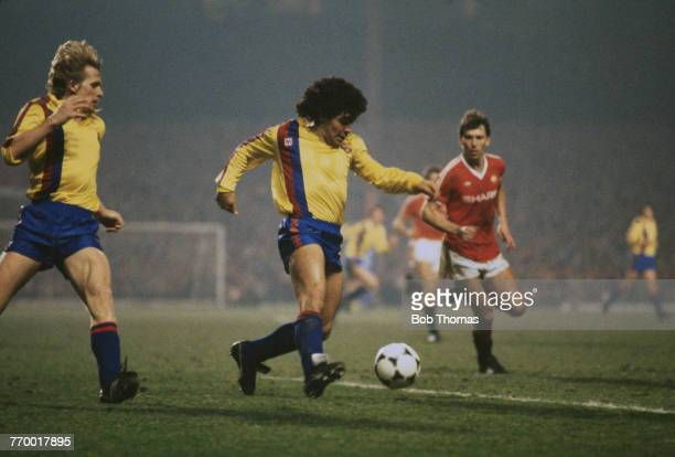 Argentine footballer Diego Maradona on the ball during the European Cup Winner's Cup quarter final second leg against Manchester United at Old...