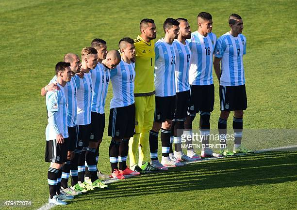 Argentine footballers line up before the start of the 2015 Copa America football championship final Argentina vs Chile in Santiago Chile on July 4...