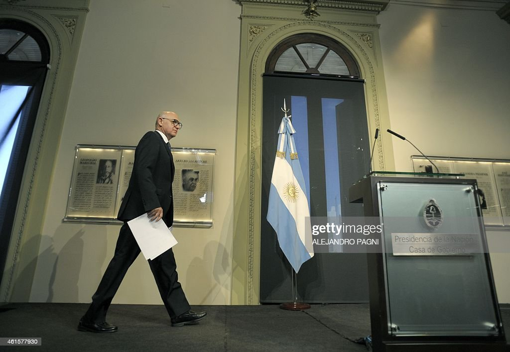 Argentine Foreign Minister <a gi-track='captionPersonalityLinkClicked' href=/galleries/search?phrase=Hector+Timerman&family=editorial&specificpeople=6769851 ng-click='$event.stopPropagation()'>Hector Timerman</a> arrives to give a press conference at the presidential palace Casa Rosada, in Buenos Aires, on January 15, 2015 a day after prosecutor Alberto Nisman accused Argentine President Cristina Fernandez de Kirchner, Timerman himself and other government officials for an alleged plan to cover Iran of its responsibilities in the bombing of the AMIA Jewish centre in 1994. Nisman asked Fernandez de Kirchner, Timerman and others, be investigated for the cover up of the attack on the Argentine Jewish Charities Federation (AMIA) that left 85 people dead and 300 others injured.