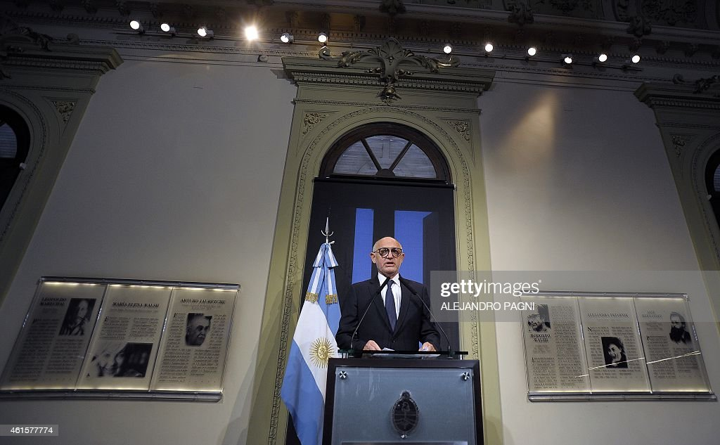 Argentine Foreign Minister <a gi-track='captionPersonalityLinkClicked' href=/galleries/search?phrase=Hector+Timerman&family=editorial&specificpeople=6769851 ng-click='$event.stopPropagation()'>Hector Timerman</a> gives a press conference at the presidential palace Casa Rosada, in Buenos Aires, on January 15, 2015 a day after prosecutor Alberto Nisman accused Argentine President Cristina Fernandez de Kirchner, Timerman himself and other government officials for an alleged plan to cover Iran of its responsibilities in the bombing of the AMIA Jewish centre in 1994. Nisman asked Fernandez de Kirchner, Timerman and others, be investigated for the cover up of the attack on the Argentine Jewish Charities Federation (AMIA) that left 85 people dead and 300 others injured.