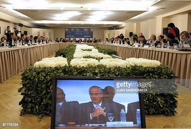 Argentine Foreign Minister Jorge Taiana talks during the plenary for Foreign and Economy ministers of the Mercosur summit in Tucuman in northern...