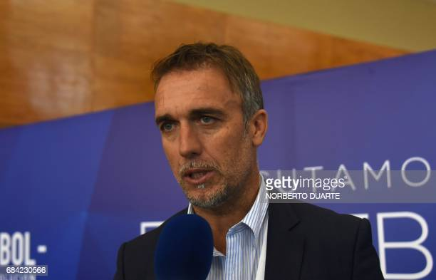 Argentine former football star Gabriel Batistuta speaks to the pres at the South American Football Confederation's headquarters in Luque Paraguay on...