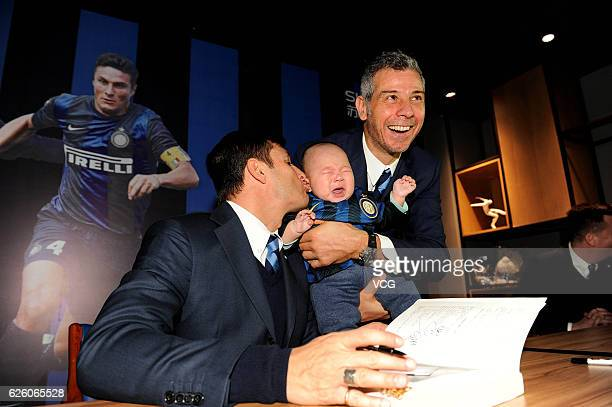 Argentine former footballer Javier Zanetti and Italian former footballer Francesco Toldo attend Inter Milan fan meeting on November 27 2016 in...