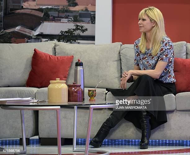 Argentine former model Karina Rabolini wife of Buenos Aires governor and presidential precandidate Daniel Scioli attends a TV show at Channel 4 in...