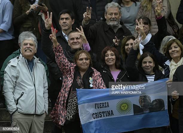 Argentine former Planning Minister Julio De Vido gestures next to Frente para la Victoria party legislators and supporters of former Argentine...