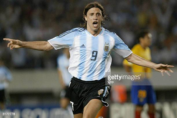 Argentine Hernan Crespo celebrates after scoring the first goal against Ecuador 30 March 2004 at the Monumental stadium in Buenos Aires Argentina...