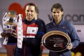 Argentine Horacio Zeballos celebrates his victory over Spanish tennis player Rafael Nadal at the ATP Vina del Mar tournament final singles match in...