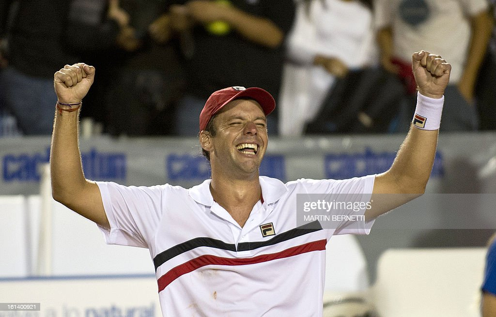 Argentine Horacio Zeballos celebrates his victory over Spanish tennis player Rafael Nadal at the ATP Vina del Mar tournament final singles match, in Vina del Mar, about 120 km northwest of Santiago, on February 10, 2013.