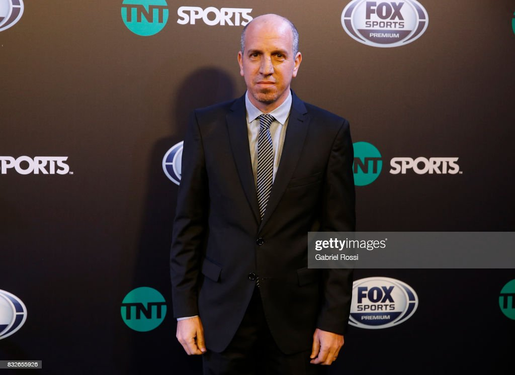 Argentine Journalist Román Iutch poses for the press during AFA's Superliga Official Launch at Hilton Hotel on August 15, 2017 in Buenos Aires, Argentina.