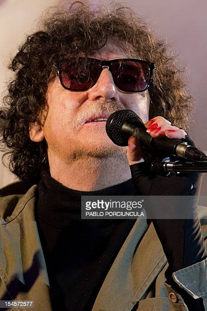 Argentine musician and composer Charly Garcia performs during his 60X60 concert in Montevideo on October 19 2012 AFP PHOTO/Pablo PORCIUNCULA