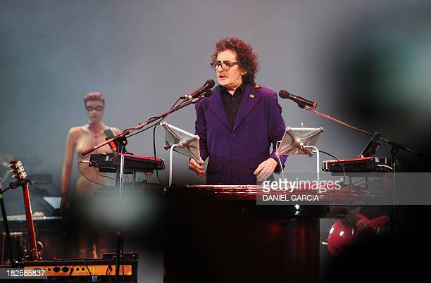 Argentine musician Charly Garcia performs on stage at the Colon theater during his Lineas Paralelas Artificio Imposible show in Buenos Aires on...