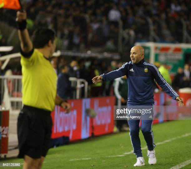 Argentine national football team manager Jorge Sampaoli during the FIFA 2018 soccer match between Argentina and Venezuela at Monumental Stadium on...