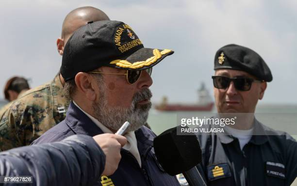 Argentine Navy captain Claudio Ortigueira talks to the press at Comodoro Rivadavia harbour after the departure of the Sophie Siem vessel on whiche...