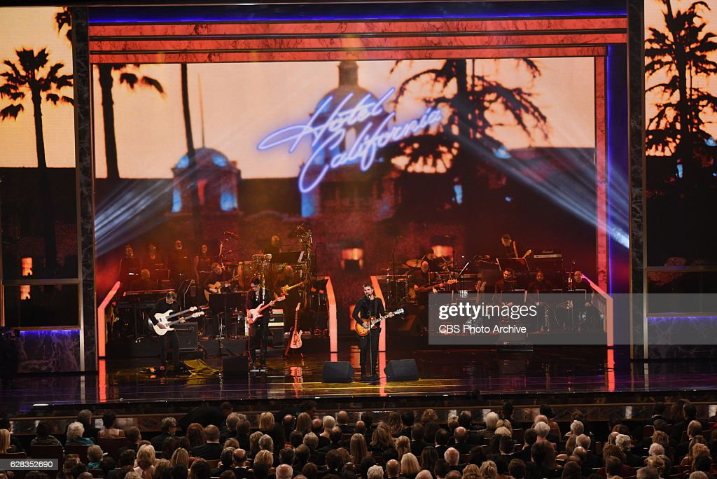 Argentine pianist Martha Argerich, rock band the Eagles, screen and stage actor Al Pacino, gospel and blues singer Mavis Staples and musician James Taylor are recognized for their achievements in the arts during a star-studded celebration on the Kennedy Center Opera House stage. THE 39TH ANNUAL KENNEDY CENTER HONORS, to be broadcast Tuesday, Dec. 27 (9:00-11:00 PM, ET/PT), on the CBS Television Network. Pictured L-R: Steuart Smith, Steve Vai, and Juanes