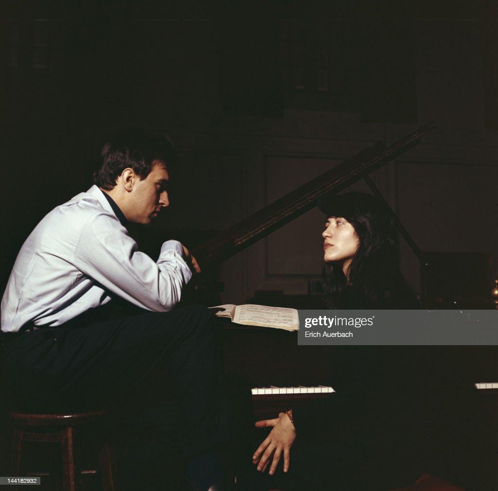 Argentine pianist Martha Argerich with Italian conductor Claudio Abbado, 1968.