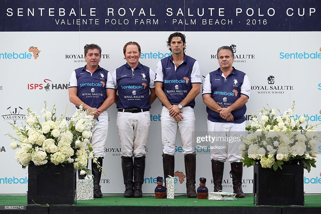 Argentine player <a gi-track='captionPersonalityLinkClicked' href=/galleries/search?phrase=Nacho+Figueras&family=editorial&specificpeople=2308997 ng-click='$event.stopPropagation()'>Nacho Figueras</a> and his team pose after competing during the Sentebale Royal Salute Polo Cup in Palm Beach with Prince Harry at Valiente Polo Farm on May 4, 2016 in Palm Beach, United. The event will raise money for Prince Harry's charity Sentebale, which supports vulnerable children and young people living with HIV in Lesotho in southern Africa.