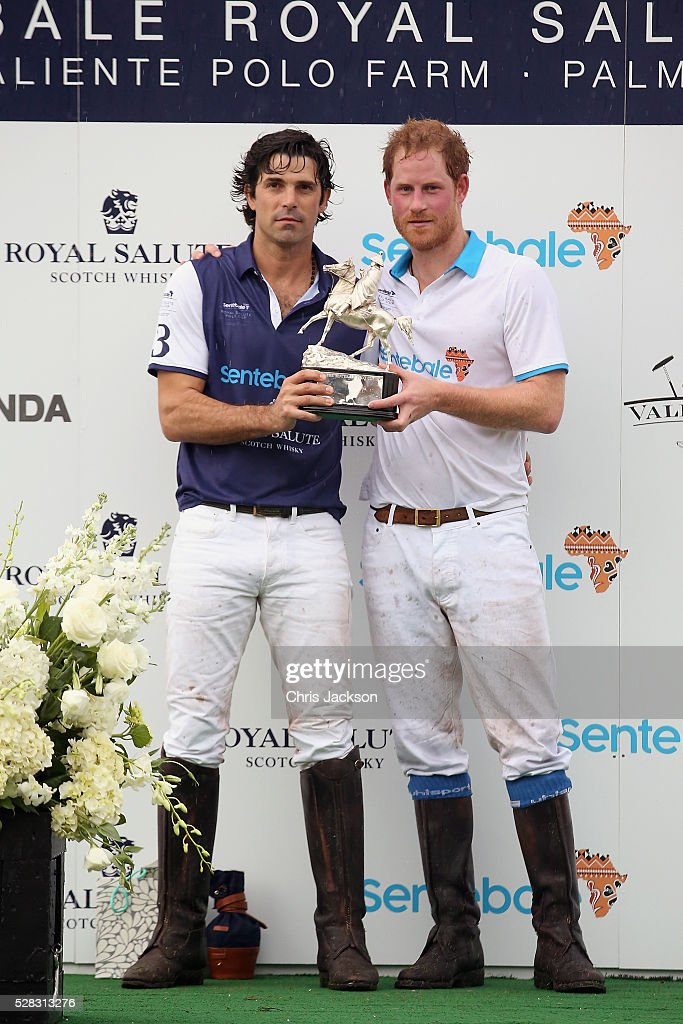 Argentine player <a gi-track='captionPersonalityLinkClicked' href=/galleries/search?phrase=Nacho+Figueras&family=editorial&specificpeople=2308997 ng-click='$event.stopPropagation()'>Nacho Figueras</a> (L) and Prince Harry pose after competing during the Sentebale Royal Salute Polo Cup in Palm Beach with Prince Harry at Valiente Polo Farm on May 4, 2016 in Palm Beach, United. The event will raise money for Prince Harry's charity Sentebale, which supports vulnerable children and young people living with HIV in Lesotho in southern Africa.
