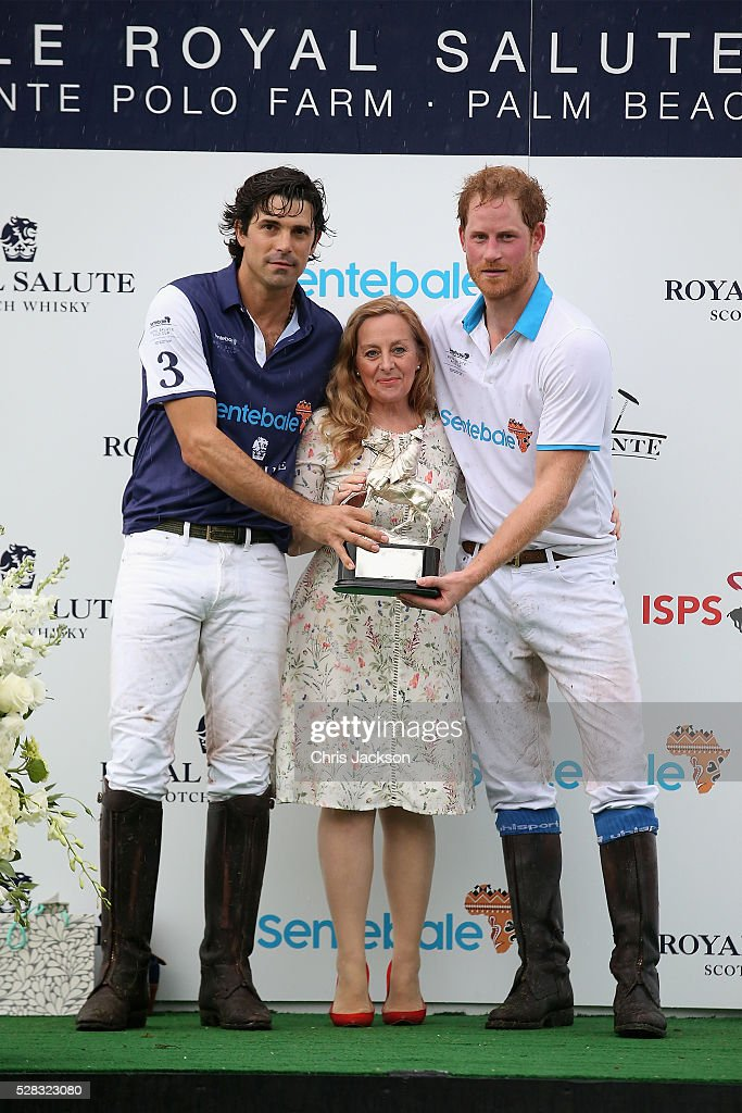 Argentine player <a gi-track='captionPersonalityLinkClicked' href=/galleries/search?phrase=Nacho+Figueras&family=editorial&specificpeople=2308997 ng-click='$event.stopPropagation()'>Nacho Figueras</a> (L) and Prince Harry pose with Sentebale's Chief Executive Cathy Ferrier after competing during the Sentebale Royal Salute Polo Cup in Palm Beach with Prince Harry at Valiente Polo Farm on May 4, 2016 in Palm Beach, United. The event will raise money for Prince Harry's charity Sentebale, which supports vulnerable children and young people living with HIV in Lesotho in southern Africa.