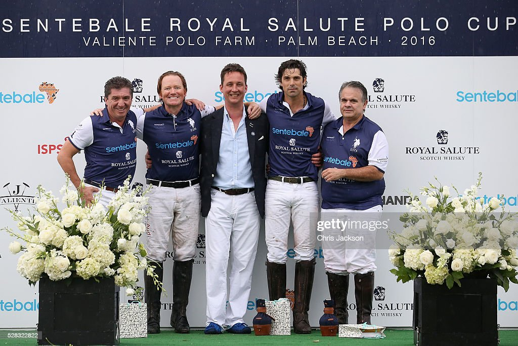 Argentine player <a gi-track='captionPersonalityLinkClicked' href=/galleries/search?phrase=Nacho+Figueras&family=editorial&specificpeople=2308997 ng-click='$event.stopPropagation()'>Nacho Figueras</a> poses with his team and Royal Salute Brand Ambassador Torquhil Ian Campbell, 13th Duke of Argyll after competing during the Sentebale Royal Salute Polo Cup in Palm Beach with Prince Harry at Valiente Polo Farm on May 4, 2016 in Palm Beach, United. The event will raise money for Prince Harry's charity Sentebale, which supports vulnerable children and young people living with HIV in Lesotho in southern Africa.