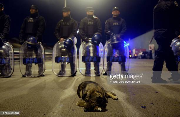 Argentine policemen stand guard at the Pueyrredon bridge blocked by demonstrators of leftist parties in Buenos Aires on June 9 during a strike in...
