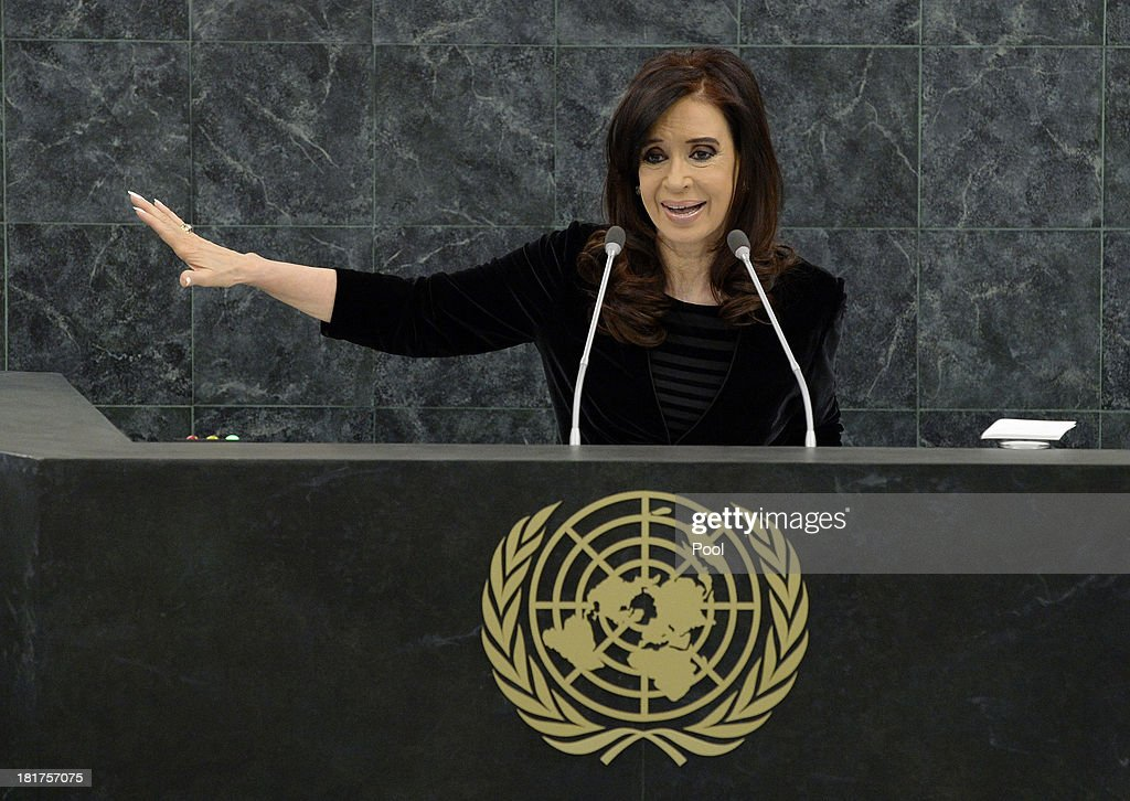 Argentine President Cristina Fernandez addresses the U.N. General Assembly on September 24, 2013 in New York City. Over 120 prime ministers, presidents and monarchs are gathering this week for the annual meeting at the temporary General Assembly Hall at the U.N. headquarters while the General Assembly Building is closed for renovations.