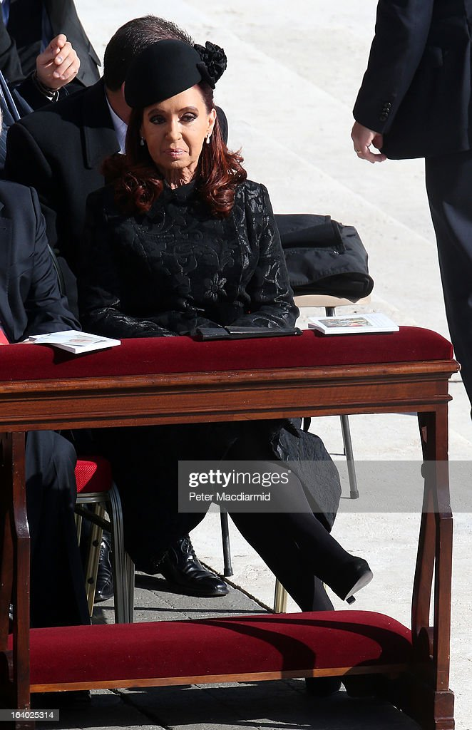 Argentine President Cristina Fernandez de Kirchner attends the Inauguration Mass for Pope Francis in St Peter's Square on March 19, 2013 in Vatican City, Vatican. The mass is being held in front of an expected crowd of up to one million pilgrims and faithful who have filled the square and the surrounding streets to see the former Cardinal of Buenos Aires officially take up his role as pontiff. Pope Francis' inauguration takes place in front of Cardinals and spiritual leaders as well as heads of state from around the world.