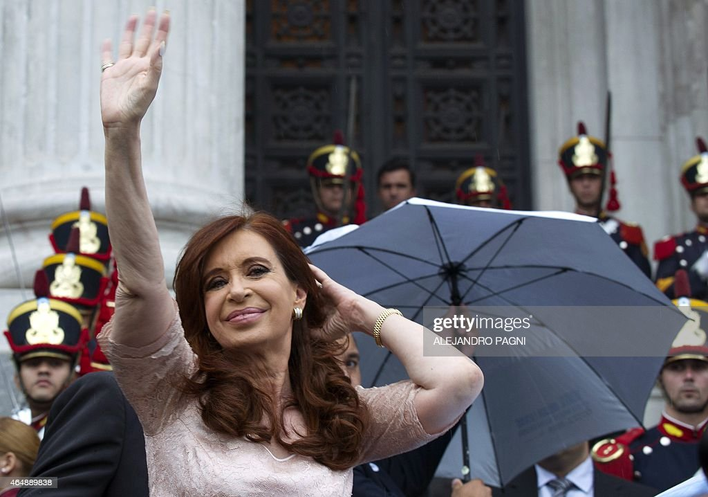 Argentine President Cristina Fernandez de Kirchner waves at supporters while leaving after the inauguration of the 133th period of ordinary sessions at the Congress in Buenos Aires, Argentina on March 1, 2015.
