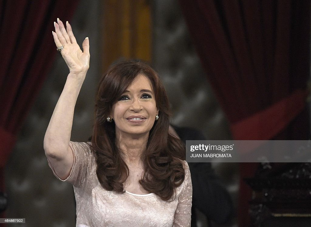 Argentine President Cristina Fernandez de Kirchner waves during the inauguration of the 133th period of ordinary sessions at the Congress in Buenos Aires, Argentina on March 1, 2015. AFP PHOTO / Juan Mabromata