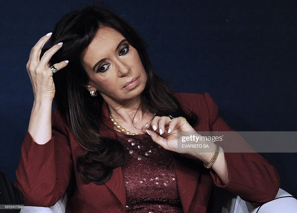 Argentine President Cristina Kirchner gestures during the opening session of the Alliance of Civilizations Third Forum in Rio de Janeiro, Brazil 28 May, 2010.