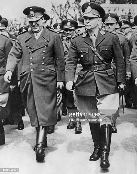 Argentine President Juan Peron with his Minister of War General Franklin Lucero circa 1950