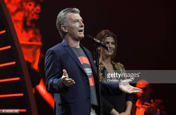 Argentine President Mauricio Macri and his wife Juliana Awada attend the Global Citizen Festival at the Barclaycard Arena on July 6 2017 in Hamburg...