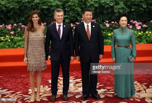 Argentine President Mauricio Macri his wife Juliana Awada Chinese President Xi Jinping his wife Peng Liyan pose for a photo prior to the dinner...