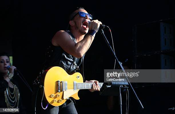 Argentine singer Emmanuel Horvilleur of Illya Kuryaki and the Valderramas performs live on stage during the 2012 Lollapalooza Music Festival at...