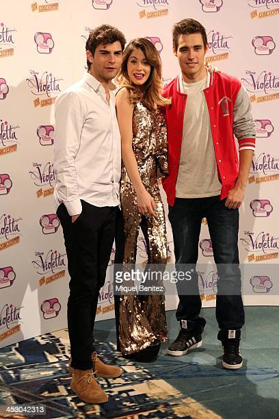 Argentine singer Violetta Diego Dominguez and Jorge Blanco attend a photocall for the Spanish tour of Violetta In Concert on December 2 2013 in...